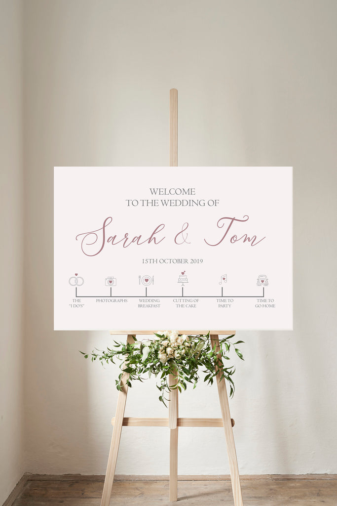 WEDDING WELCOME SIGN and timeline Personalised Dusky Pink Wedding