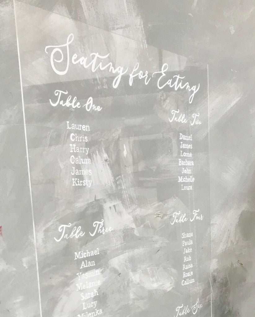 Acrylic wedding table plan, Perspex sign,  hand painted