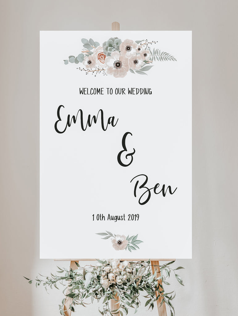 Wedding Welcome Sign - Printed Floral Design
