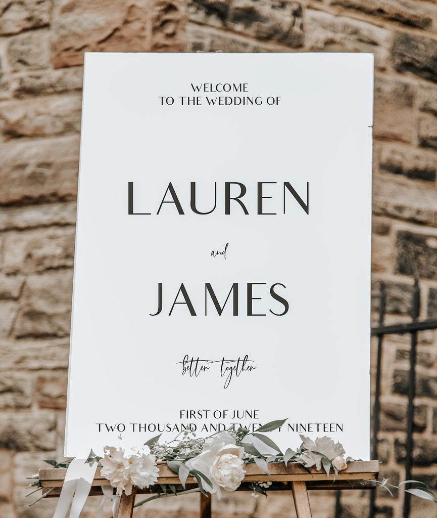 Wedding Welcome Sign,  printed Classic White Wedding Sign