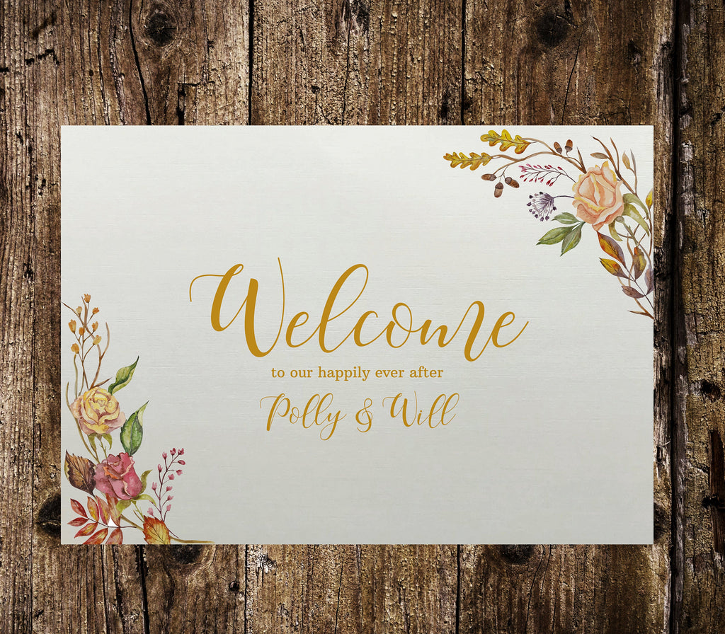 Wedding Welcome Sign - Autumnal Floral, Personalised wedding sign perfect for a rustic wedding