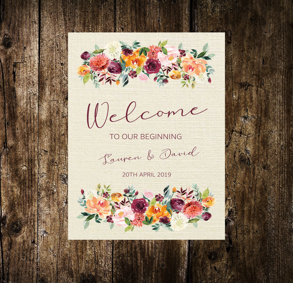 WEDDING SIGN -   Welcome Sign  Autumnal floral, printed or digital
