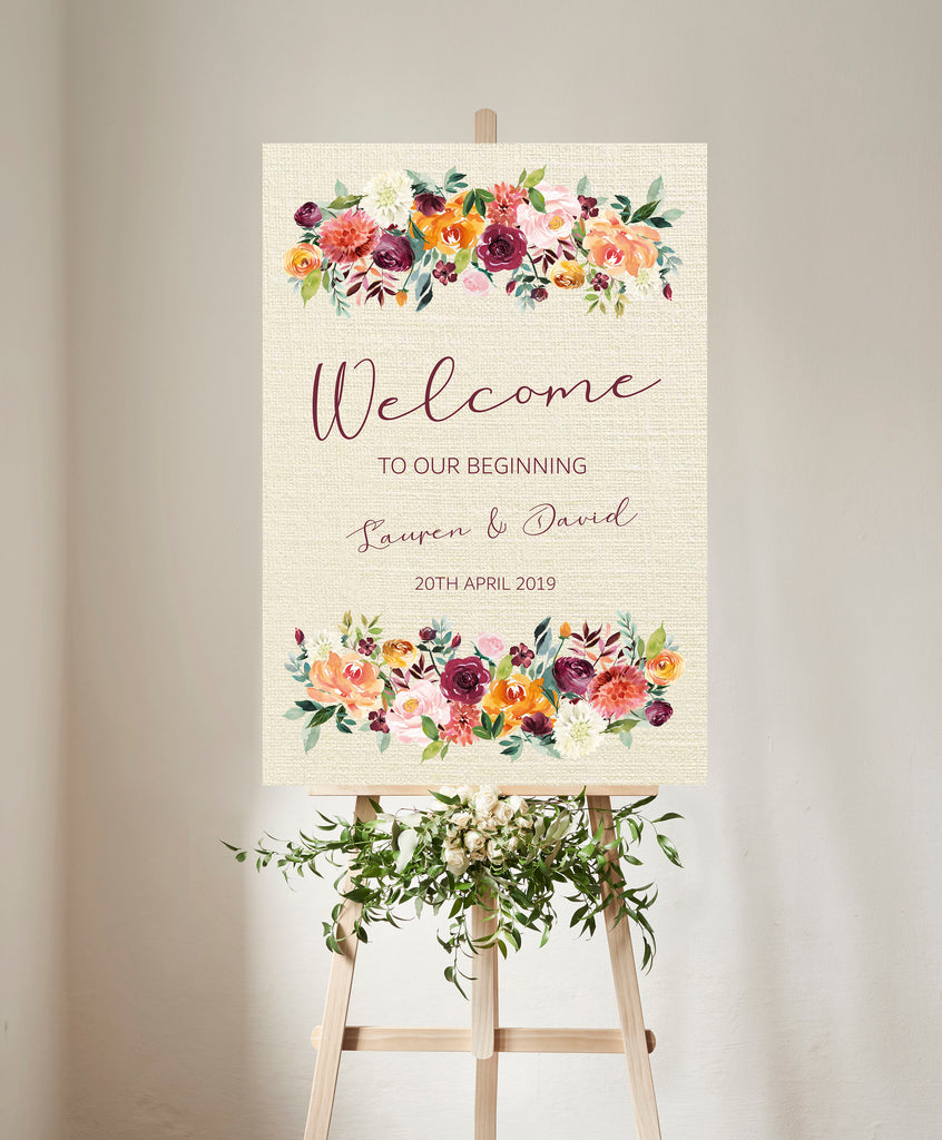 WEDDING WELCOME SIGN -   Welcome Sign  Autumnal floral, printed or digital