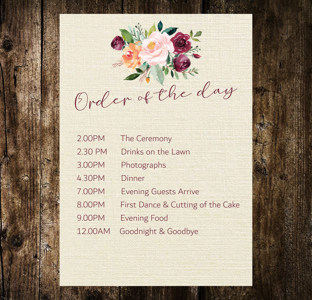 Order of the Day  Autumnal Floral Printed