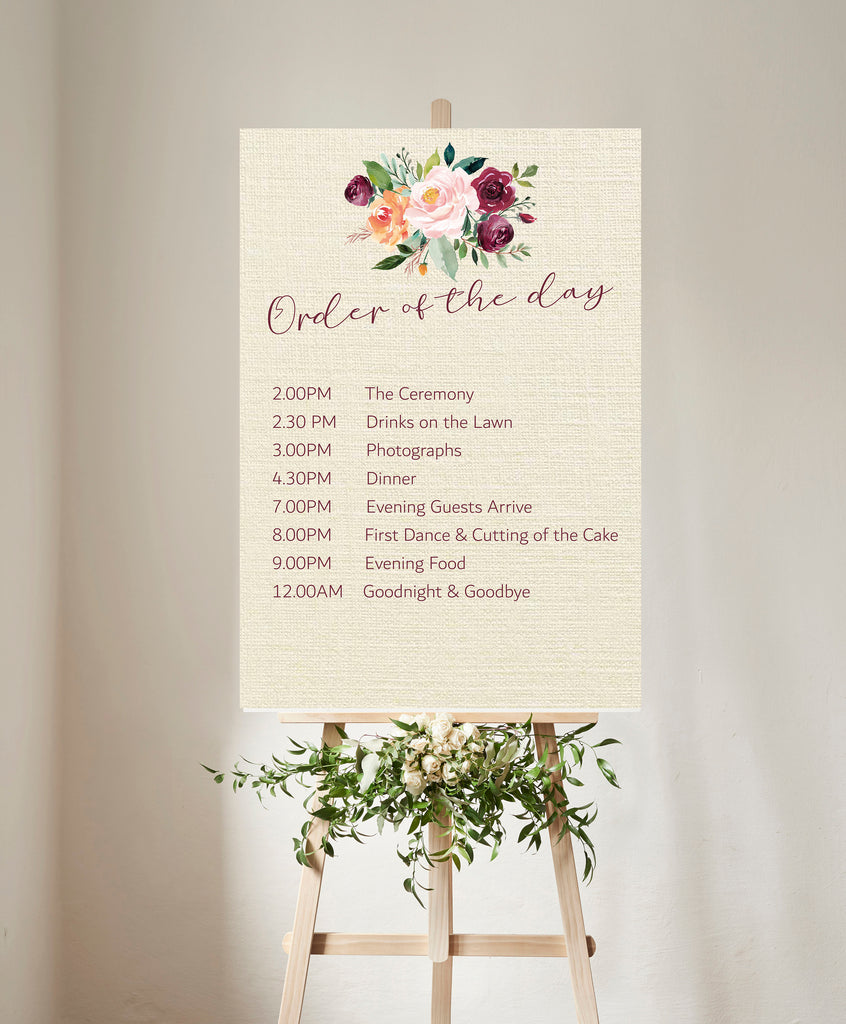WEDDING SIGN -   Order of the Day  Autumnal floral printed