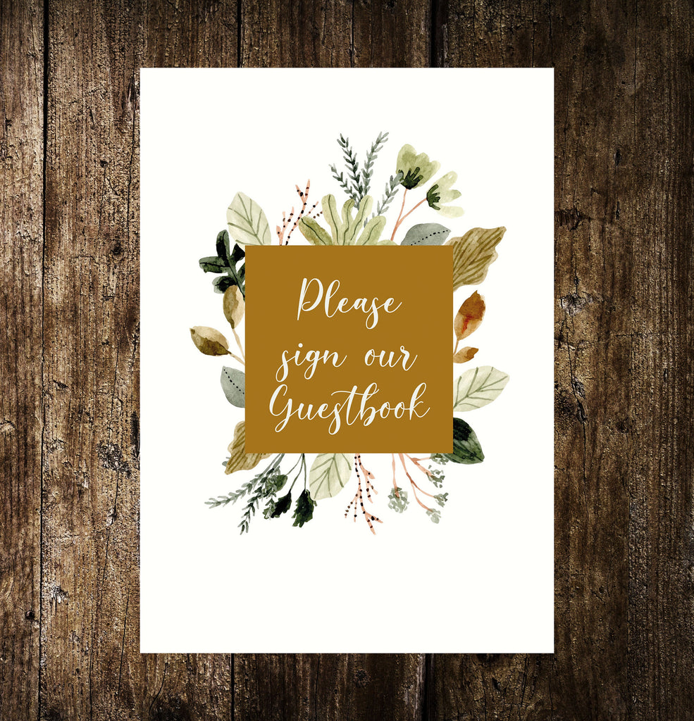 WEDDING SIGN -   PRINTED on the day wedding sign, cards & gifts, guestbook, sweet table