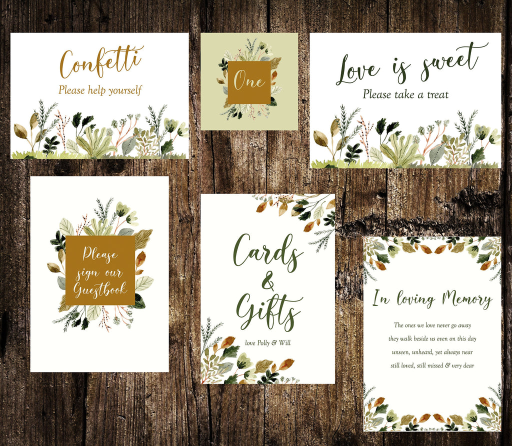 Printed Wedding Sign Set  -   Forest Foliage, on the day wedding sign, cards & gifts, guestbook, sweet table