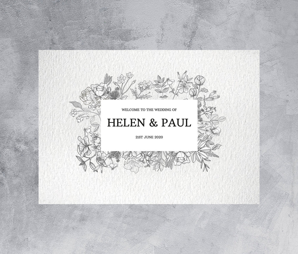 WEDDING SIGN - Welcome sign with delicate botanical drawing