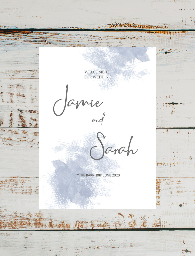 WEDDING SIGN - Blue Watercolour Wedding Welcome Sign