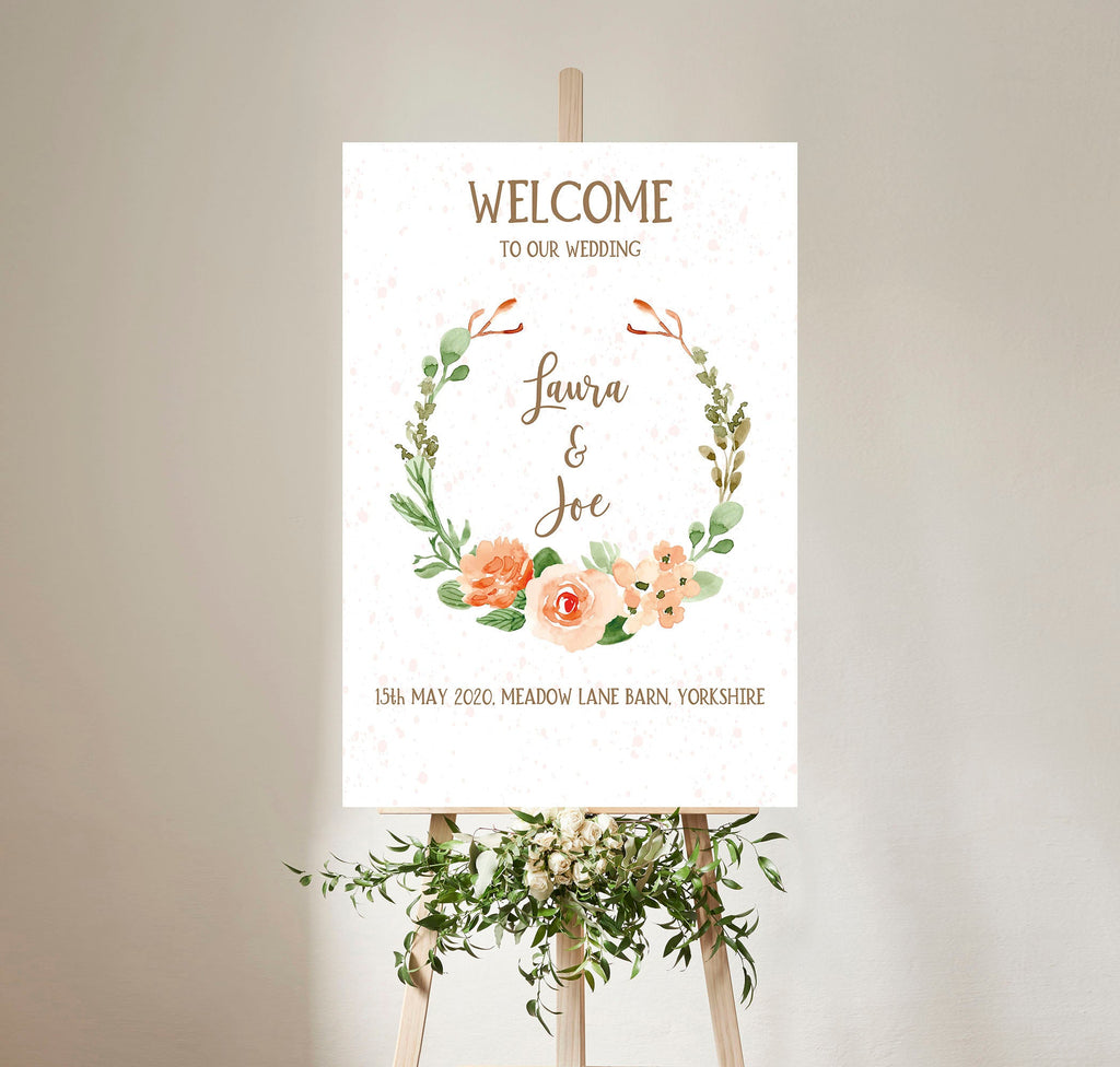 WEDDING SIGN - Peach Floral Watercolour Wedding Welcome Sign