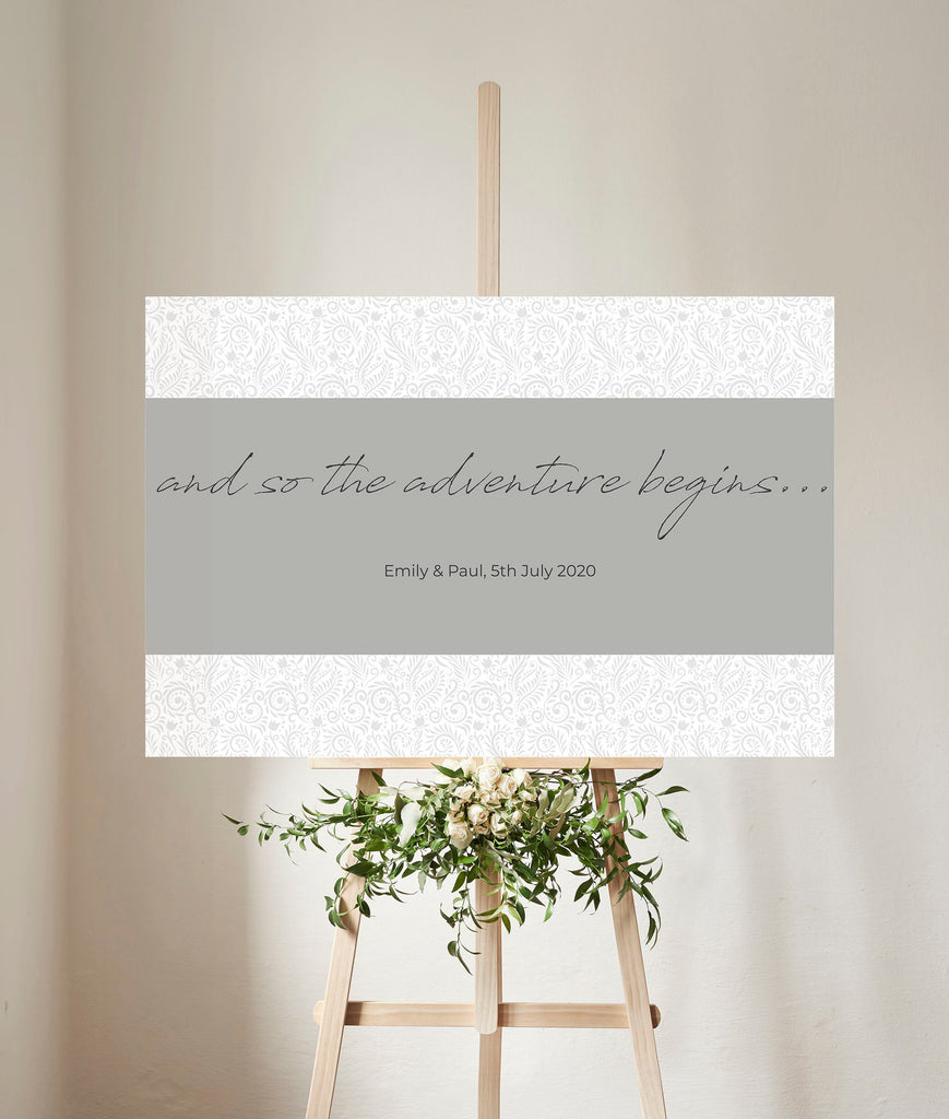 WEDDING SIGN - Soft Grey Patterned wedding welcome sign
