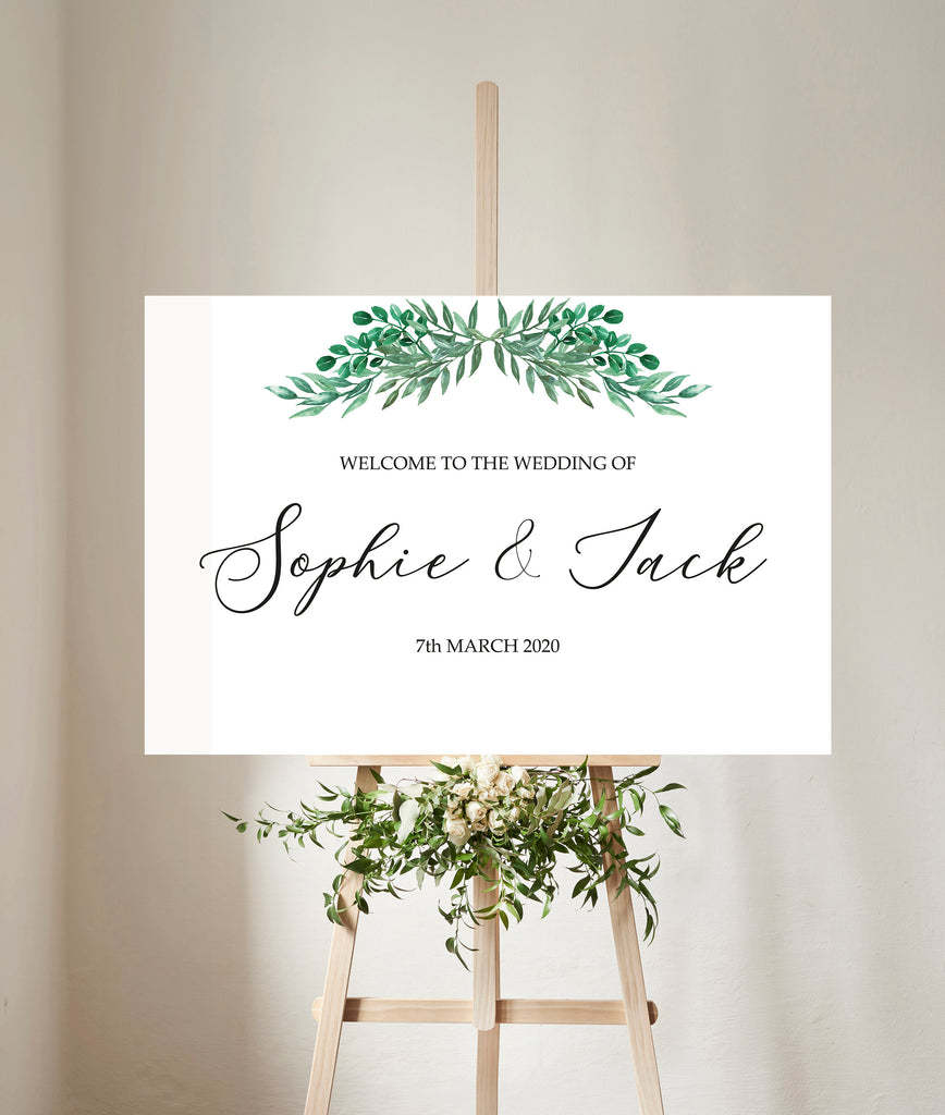 WEDDING SIGN - Welcome sign with foliage garland