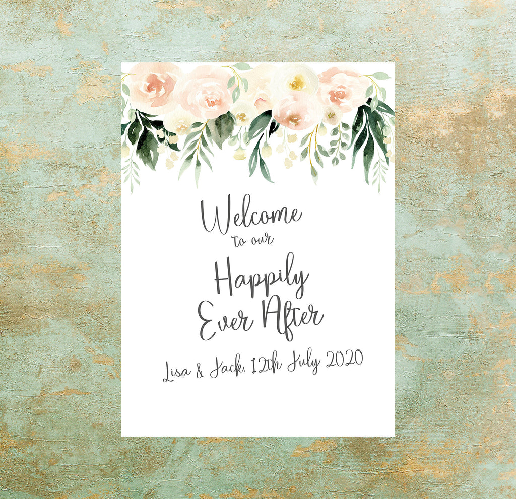 WEDDING SIGN - Welcome sign Blush Pink Floral