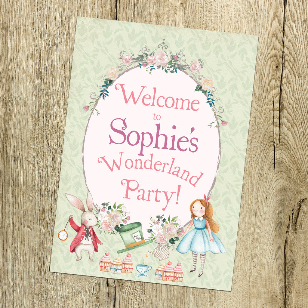 Birthday Party Sign - Alice in Wonderland, Personalised & Printed
