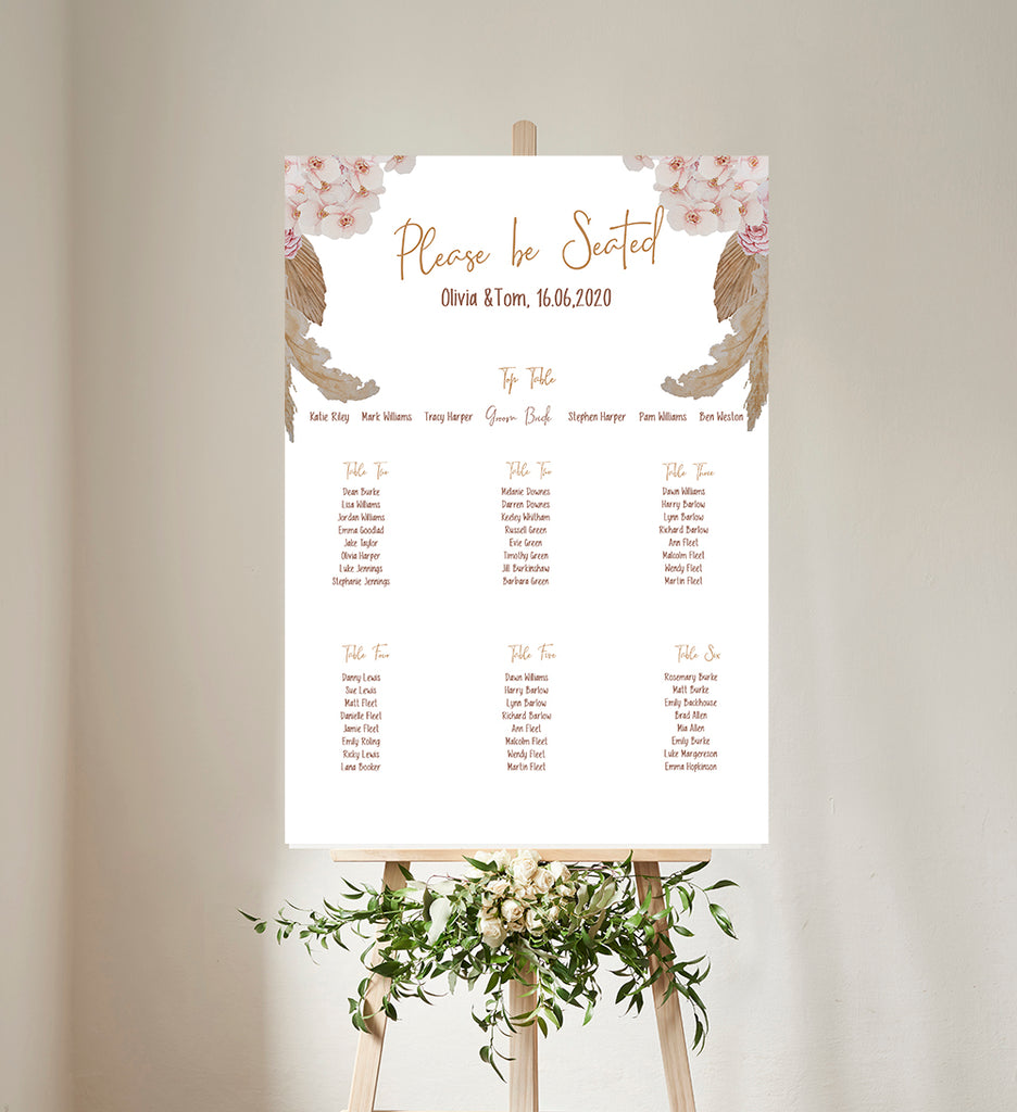 Pampas Grass Boho Wedding Table Plan
