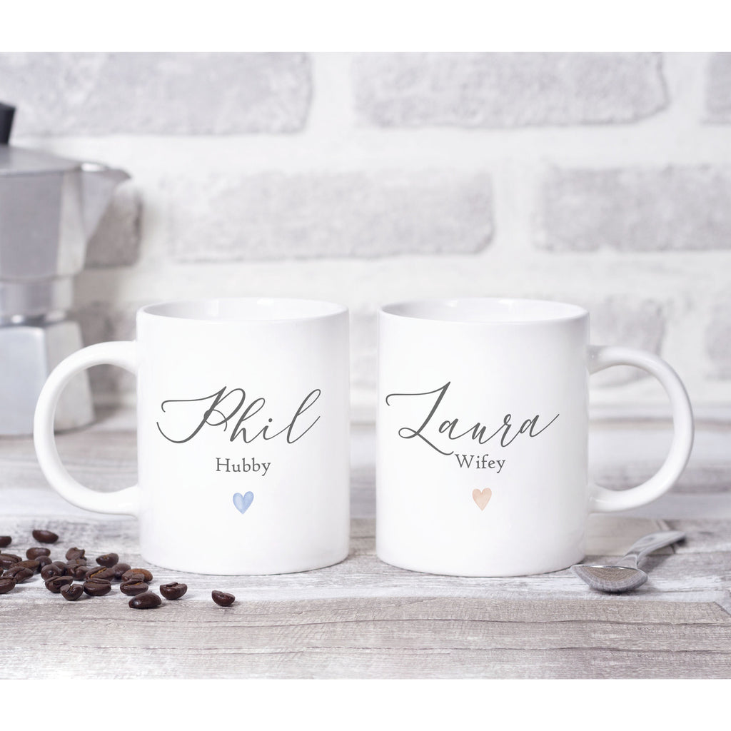 Personalised  Hubby & Wifey Mugs