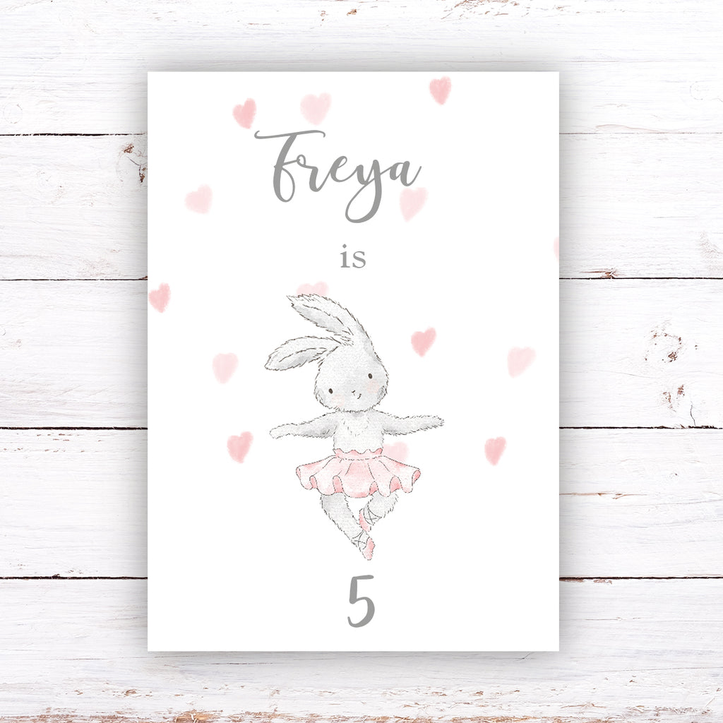 HAPPY BIRTHDAY SIGN - Pretty Pink Bunny, 1ST Birthday Sign