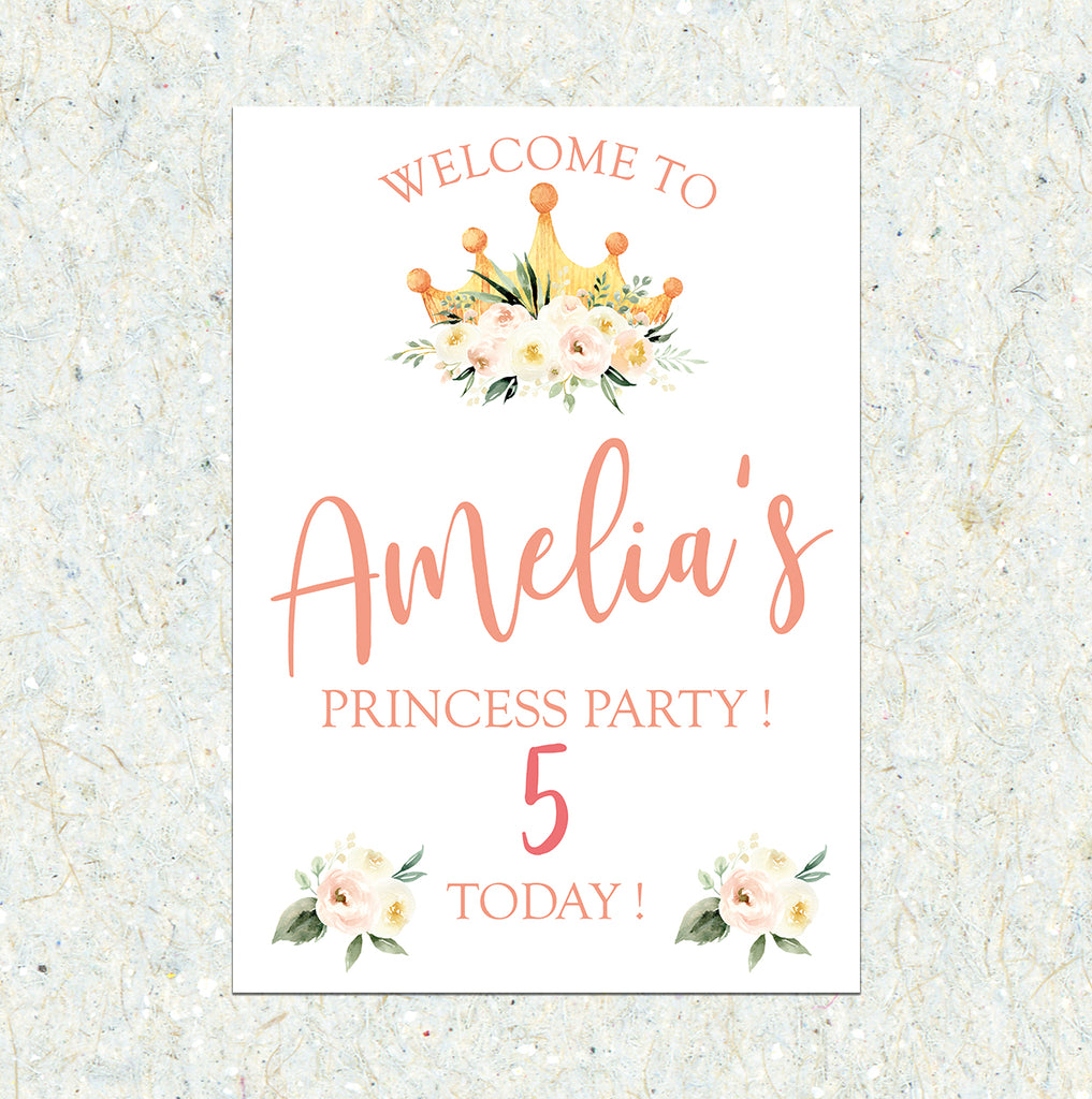 HAPPY BIRTHDAY SIGN - Princess Party Printed sign
