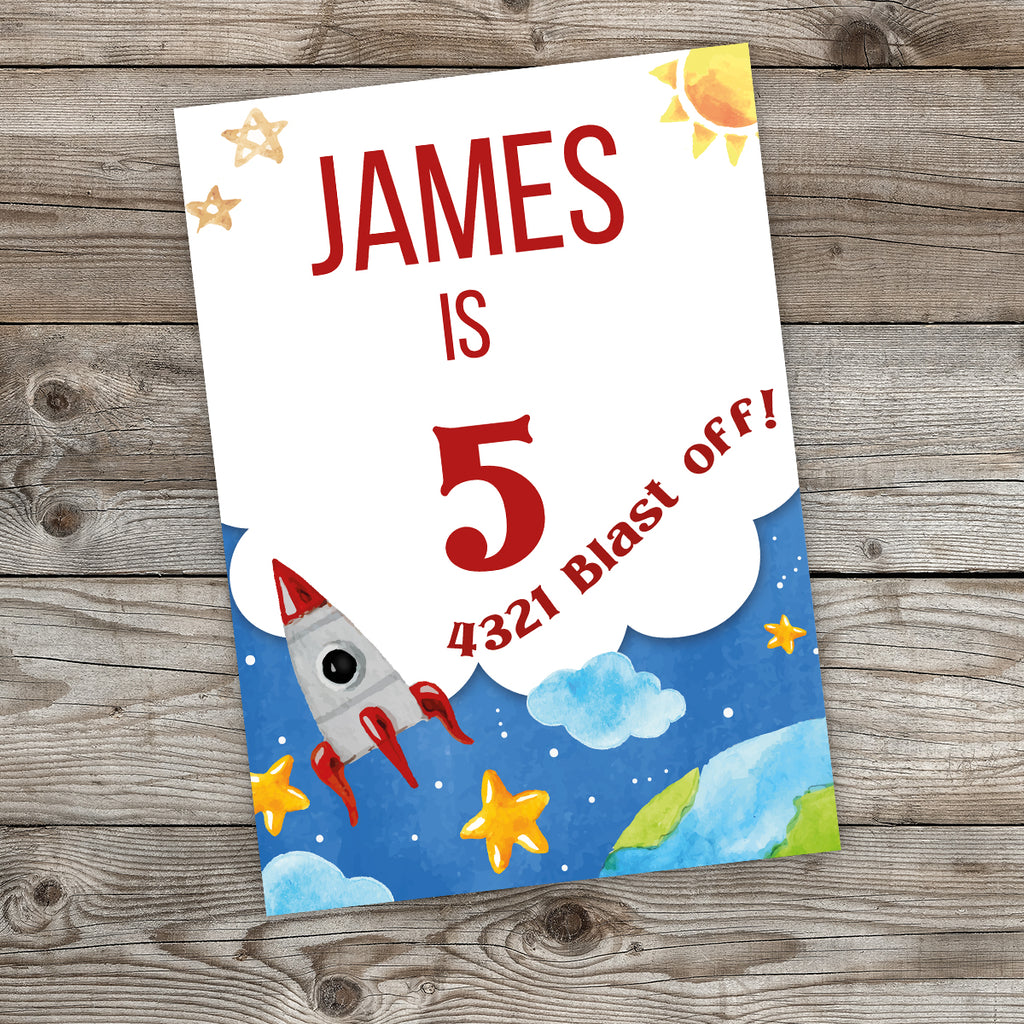 Rocket Sign Birthday Party Sign