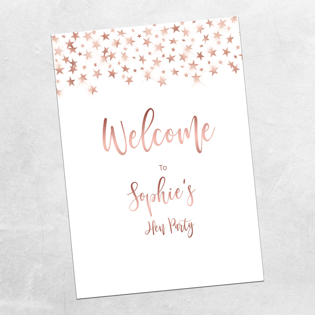 Hen Party Sign - Rose Gold Stars