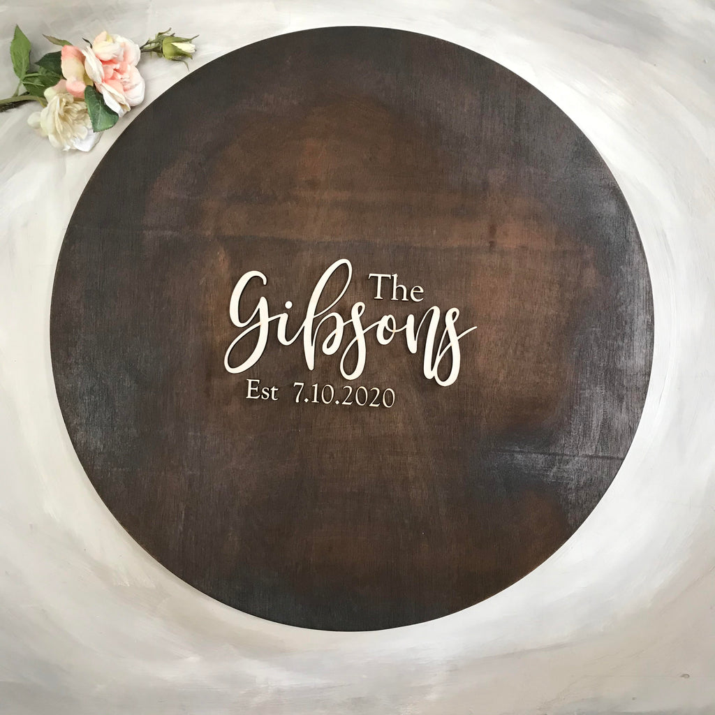 Round Alternative Rustic Wooden Wedding Guest Book to hang on a wall