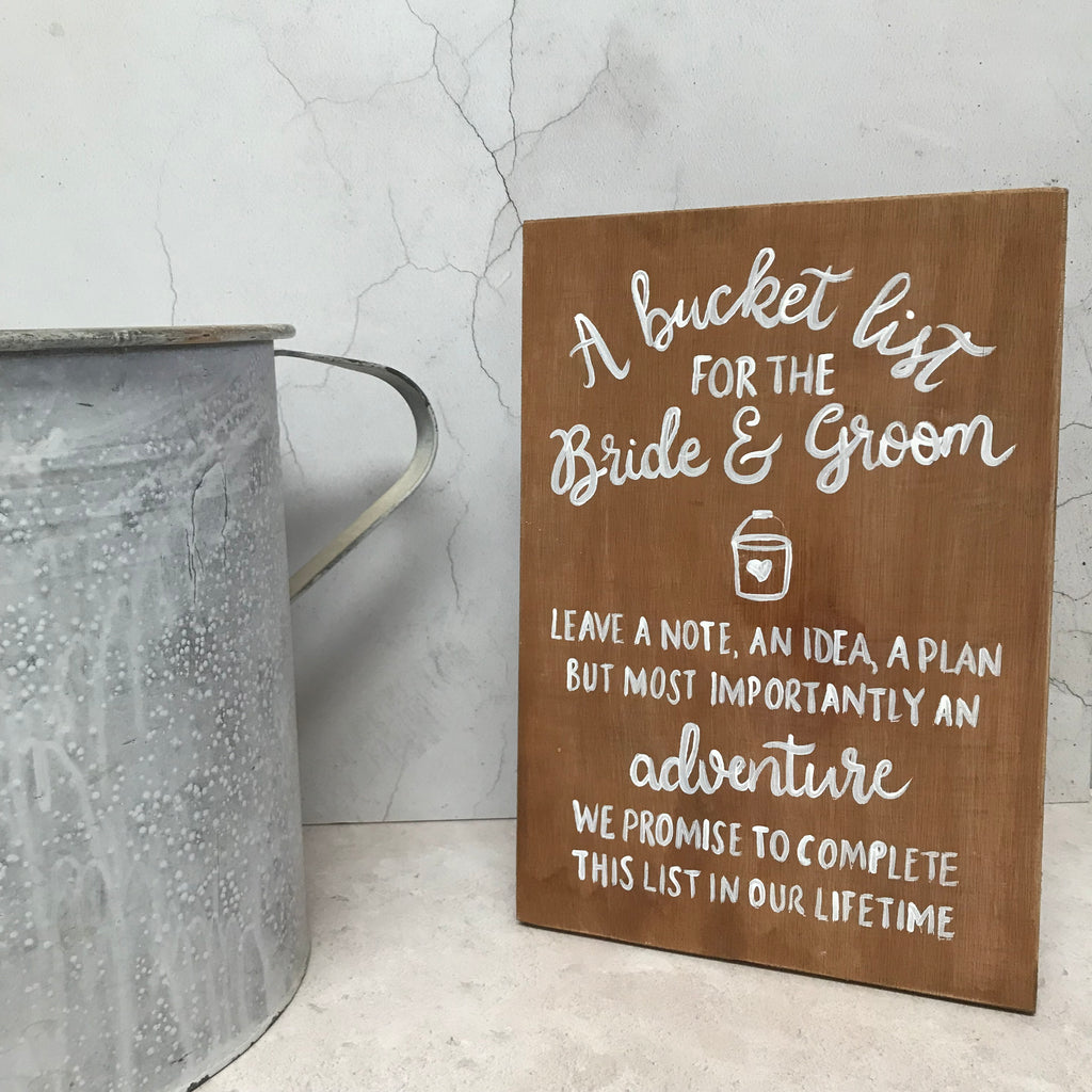 Rustic  Wooden Bucket List Sign