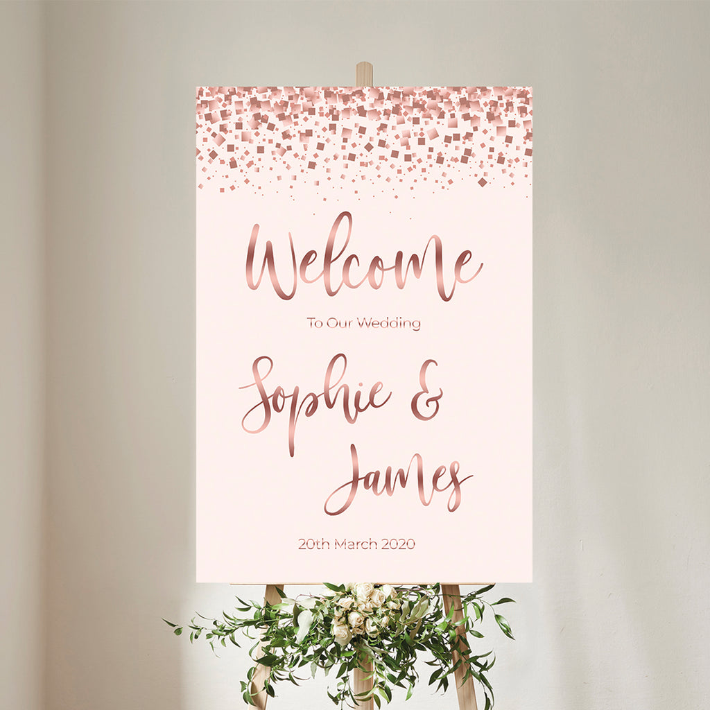 Rose Gold Wedding Welcome Sign