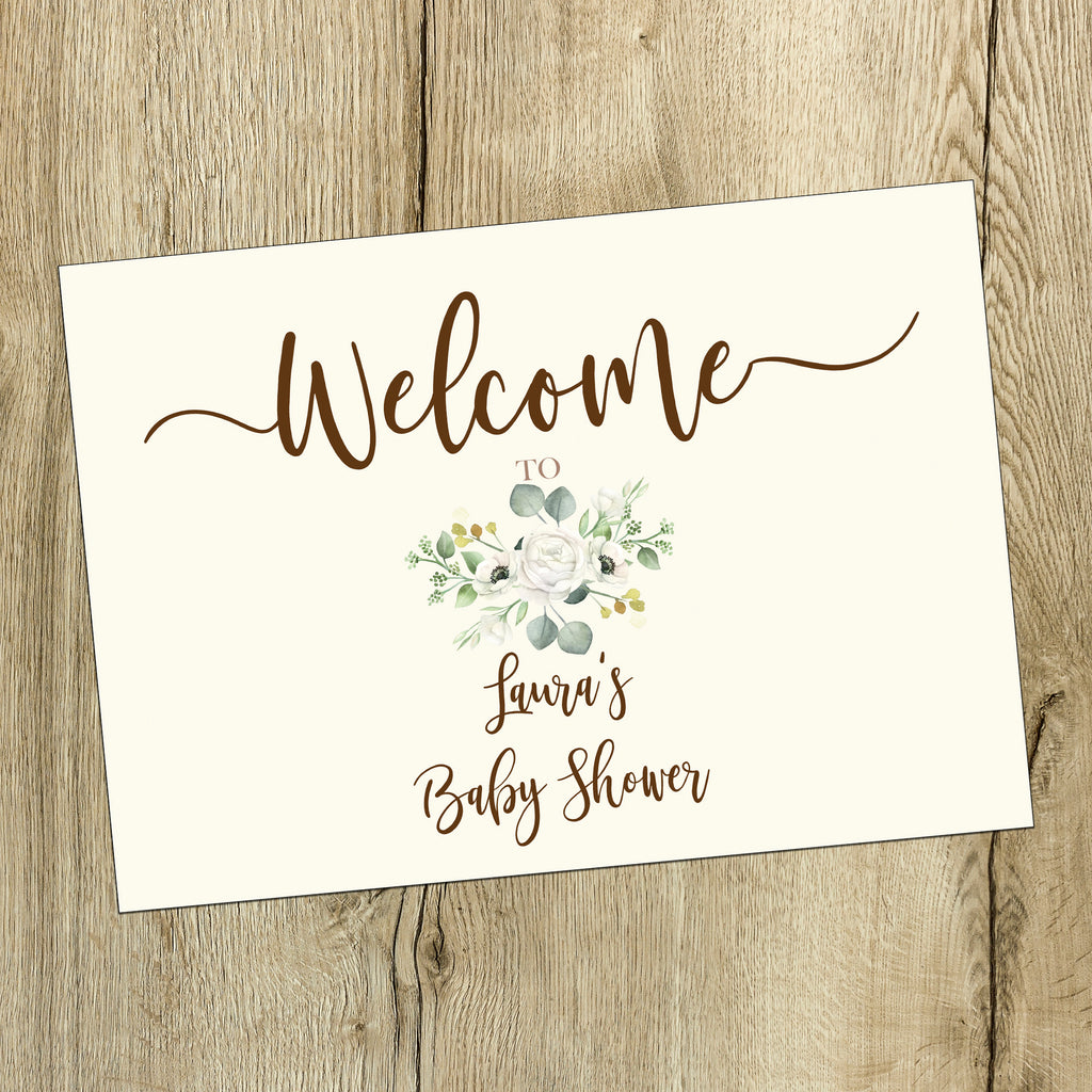 Baby Shower  Sign - White Floral