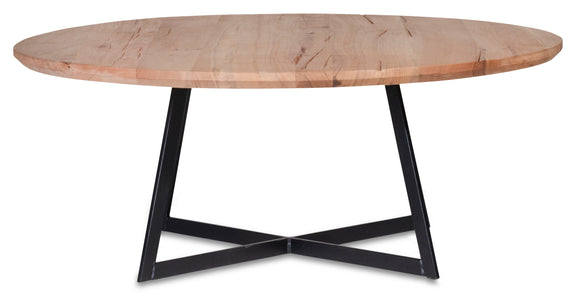 coffee table solid wood top with black metal legs