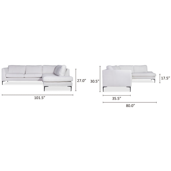 (PRE ORDER) Sunday Sectional Left, Vanilla