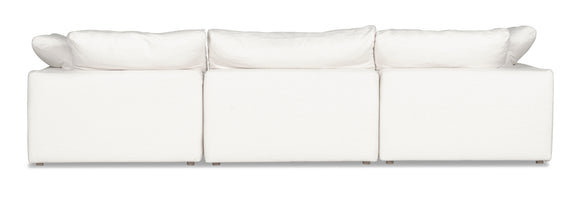 (PRE-ORDER) Movie Night 5-Piece Closed Modular Sectional, White Linen - Image 4