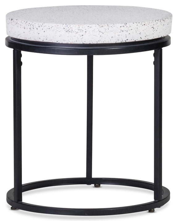 Circulate Round Side Table, Salt and Pepper - Image 3