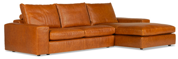 Daydream Leather Right Sectional, Cinnamon - Image 2
