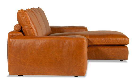 Daydream Leather Right Sectional, Cinnamon - Image 3