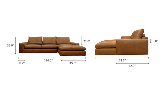 Daydream Leather Right Sectional, Cinnamon