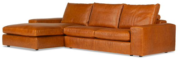 Daydream Leather Left Sectional, Cinnamon - Image 2