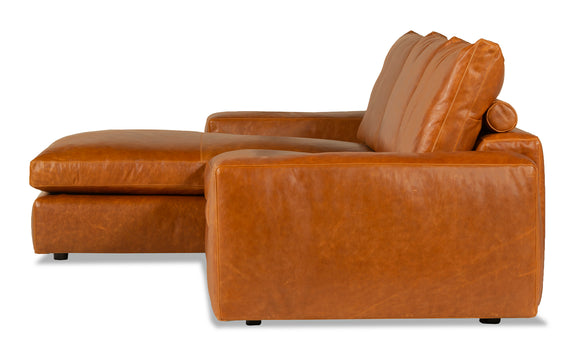 Daydream Leather Left Sectional, Cinnamon - Image 3