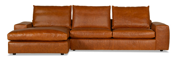 Daydream Leather Left Sectional, Cinnamon - Image 1