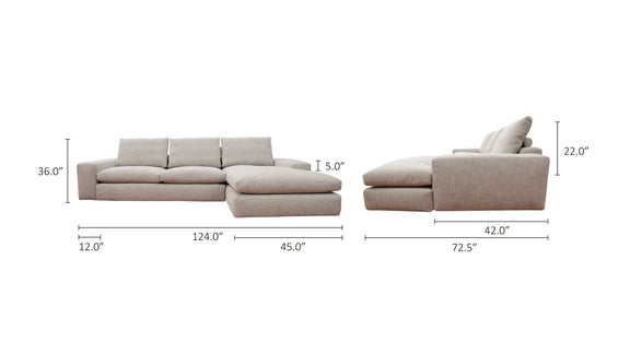Daydream Right Sectional, Sand
