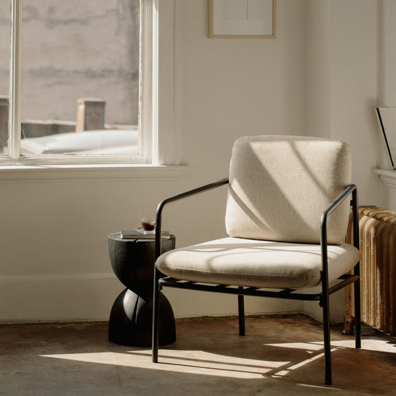 (PRE-ORDER) Kai Lounge Chair, Oatmeal/Black Steel - Image 2