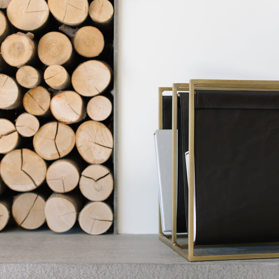 Page Flip Double Magazine Rack, Night/Brass - Image 2
