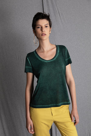 RACHEL washed green t-shirt - heroic-online