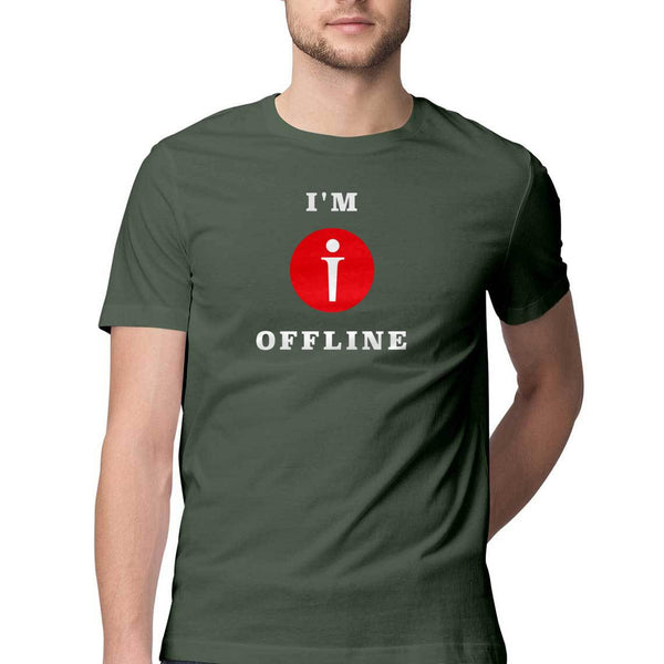 I am Offline Mens Classic Fit T-Shirt Green