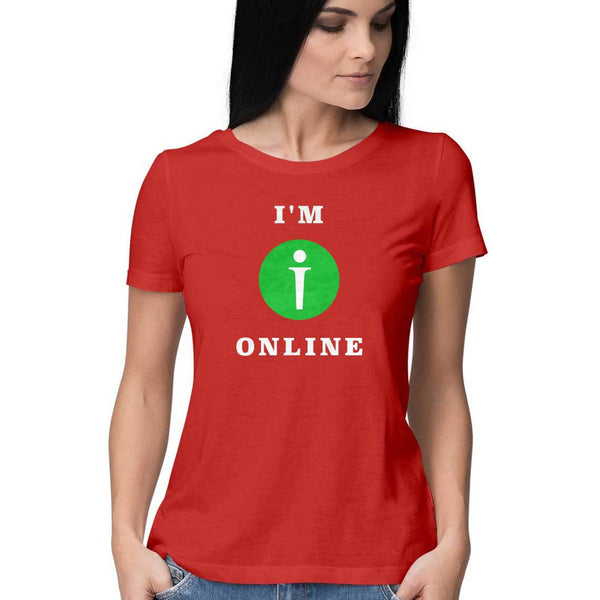 I am Online Womens Feminine Fit T-Shirt Red