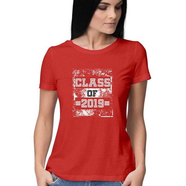 Class of 2019 Distress Textured Womens Feminine Fit T-Shirt Red