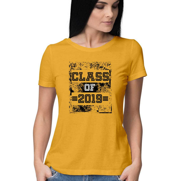 Class of 2019 Distress Textured Womens Feminine Fit T-Shirt Yellow