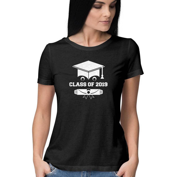 Class of 2019 Smiling Grad Hat and Scroll Womens Feminine Fit T-Shirt Black