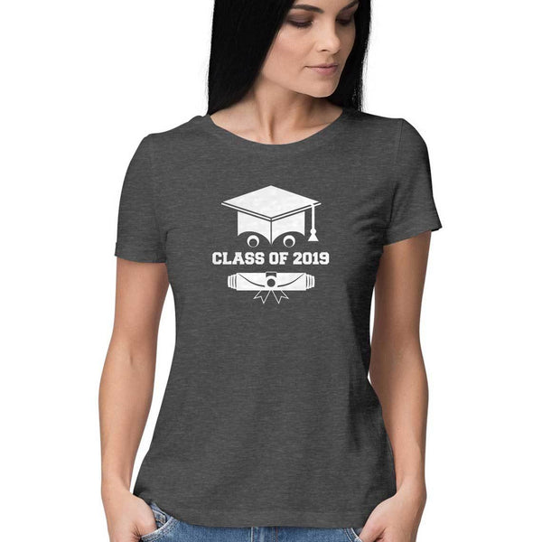 Class of 2019 Smiling Grad Hat and Scroll Womens Feminine Fit T-Shirt Gray