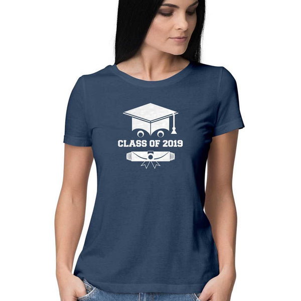 Class of 2019 Smiling Grad Hat and Scroll Womens Feminine Fit T-Shirt Navy