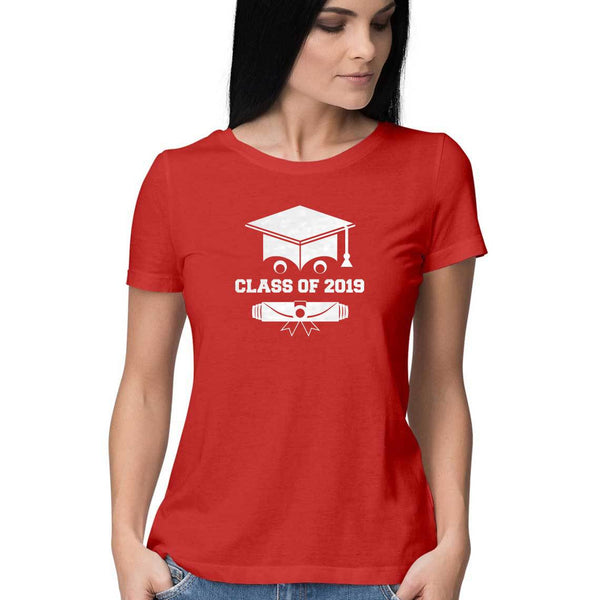 Class of 2019 Smiling Grad Hat and Scroll Womens Feminine Fit T-Shirt Red